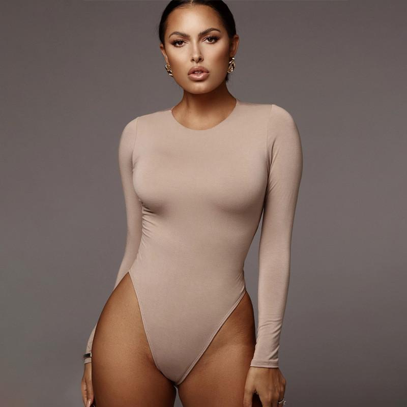 2020 Long Sleeve O-neck Sexy Bodysuit Autumn Winter Women Jumpsuit Stretchy Outfits Bodycon Playsuit