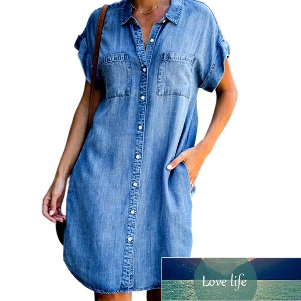 Summer Plus Size Straight Dresses Women Short Sleeve Pockets Single-breasted Irregular Hem Knee-length Loose Denim Dress for mom