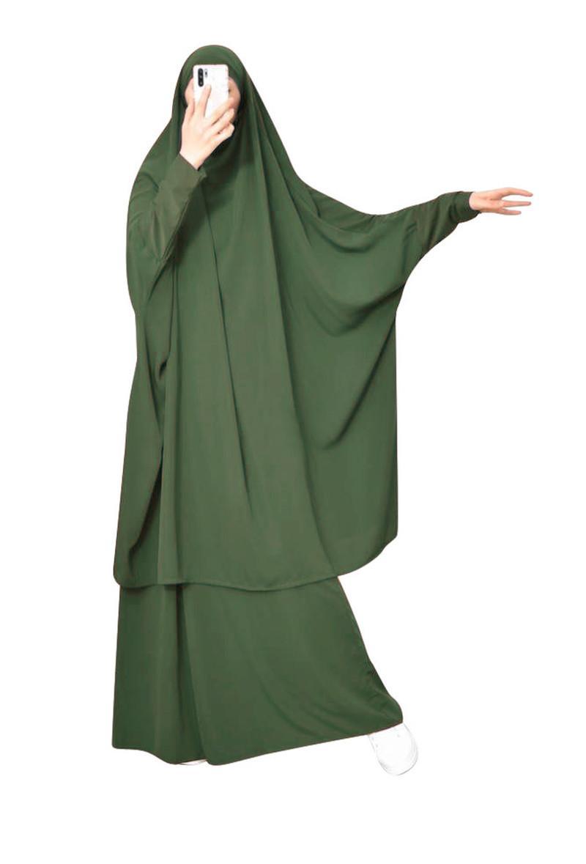 EID Muslim Mujeres Hijab Dress Set de la prenda de oración Jilbab Namaz Cubierta completa Ramadán Long Khimar Book Abayas Ropa Islámica Niqab