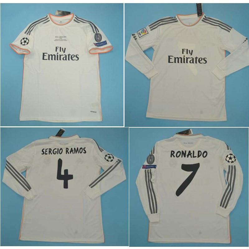Thai 13 14 Real Madrid Retro Jerseys Sergio Ramos Futebol Jersey 2013 2014 Ronaldo Classical Benzema Camisa de futebol Raul Maillot de pé