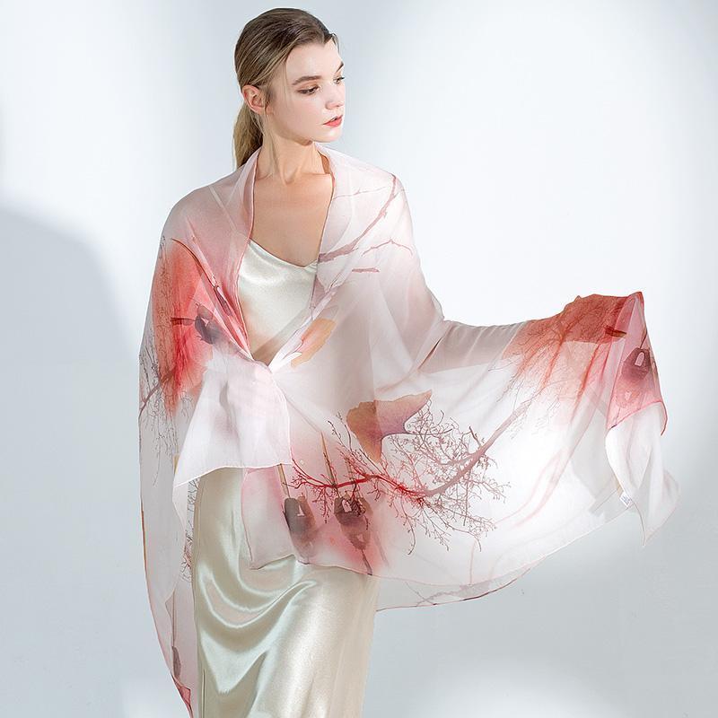 Sciarpa di seta Sciarpa di seta Scialle femminile Super sottili lungo durante la primavera e la stampa del sole autunnale 100% sciarpa di gelso