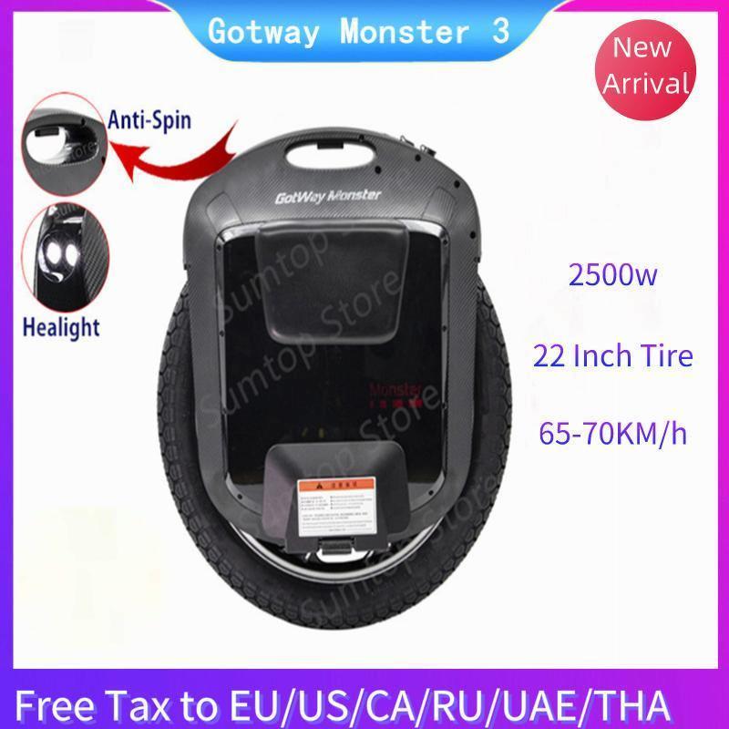 2020 Gotway 몬스터 3 외발 자전거 자체 균형 전기 스쿠터 22 인치 2500W 모터 84V / 100V 배터리 MonowHeel 스케이트 호버 보드