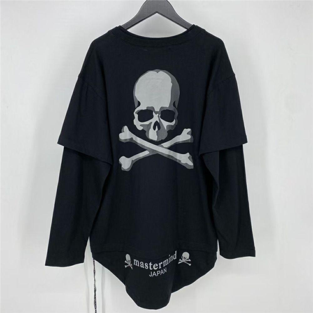 Рукава Светоотражающие двойные Mastermind Япония Футболки футболки Мужчины 1: 1 Лучшее качество Черный белый с длинным рукавом Верхняя кость C0304