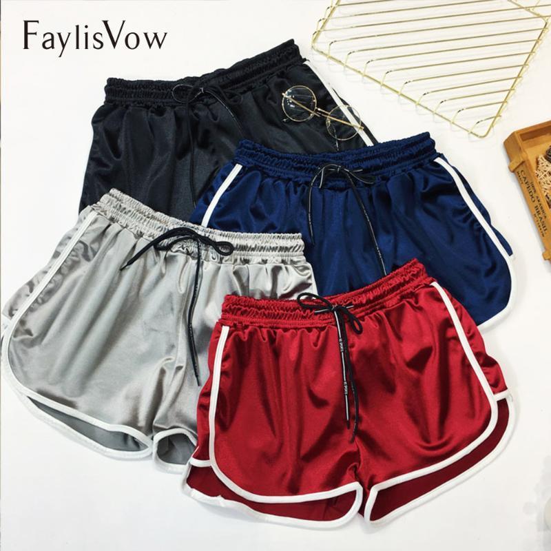 Shorts femininos faylisvow 4xl 5xl plus size slim cetim curto sexy lateral listrado cintura alta cordão fitness casual mulheres verão