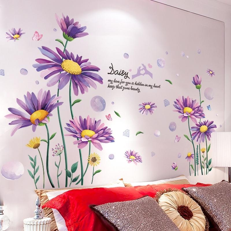 [Shijuekongjian] Pegatinas de la margarita púrpura Pegatinas de la pared DIY Plantas de flores para la sala de estar Kids Dormitorio Cocina Nursery House Decoración 210310