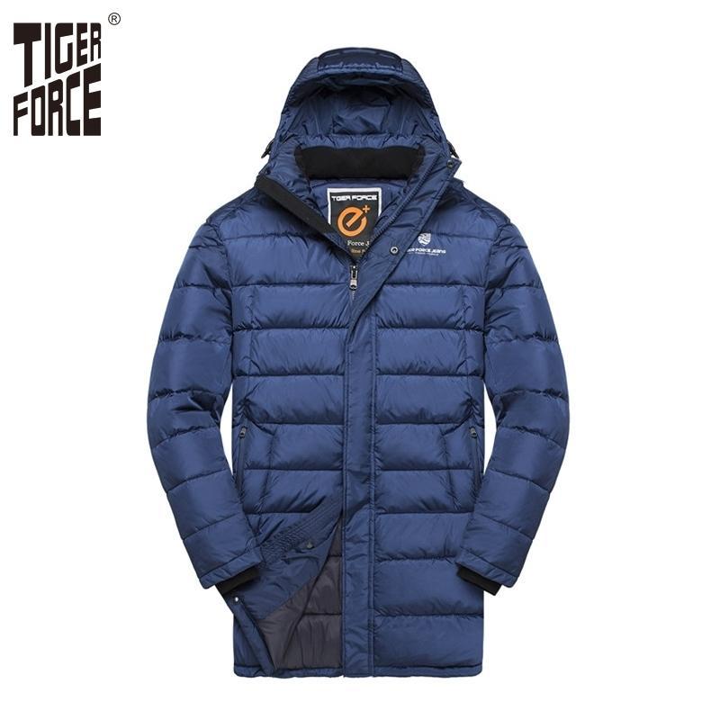 Tiger Force Hommes Veste rembourrée Mode de midi à mi-course chaude Hommes à capuchon à capuchon double zippot manteau Veste hiver pour hommes Plus Taille 210222