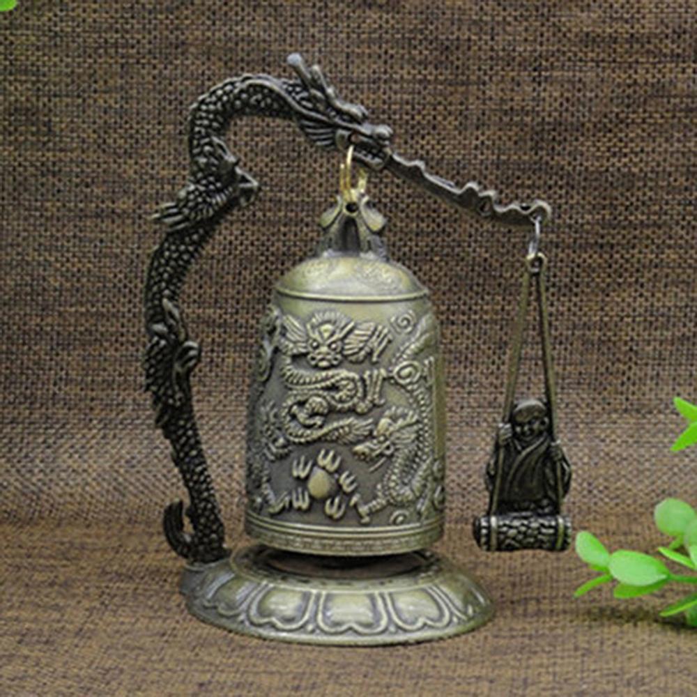 2020 New Metal Bell Esculpido Dragão Budista Relógio Bom Sorte Feng Shui Ornamento Decoração de Casa Figuras China Bell Decor C0220