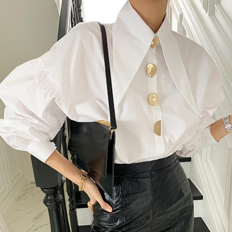 COREAN Spring elegante temperamento appunto collare chic chic single fix bottone allentato lanterna manica camicia top donne
