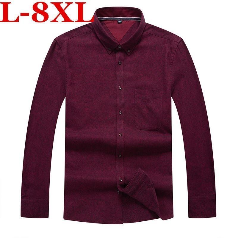 7xl 8xl mais tamanho casual manga comprida magro encaixe masculino negócios vestido camisa marca homens roupas suaves confortáveis