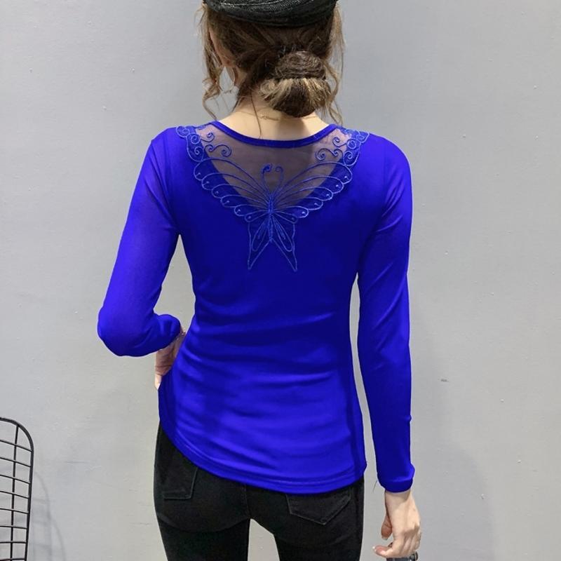 2021 Новая осень зима корейский стиль футболка шикарный V-образным вырезом драпировку блестящие бриллианты женщины топы Ropa Mujer пэчворк сексуальные задние хлопковые тройники T09208L BFQ