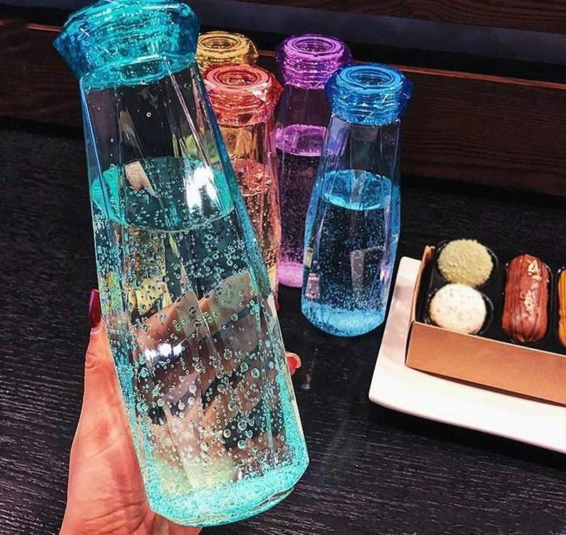 500 мл Кристалл Стеклянная Бутылка Вода Мода Путешествия Кружка Спортивные Бутылки Воды Кемпинг Пешие прогулки Чайник Пить Кубок Алмазный Подарок