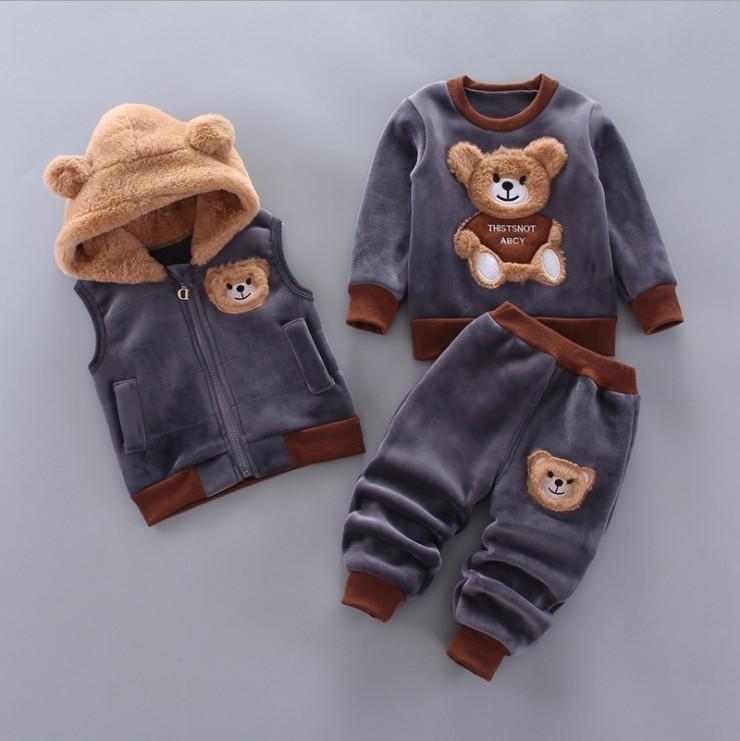 Trois pièces pour bébés garçons filles vêtements Ensembles de dessin animé d'hiver automne ours d'enfants Vêtements de vêtements + pulls + pantalon costume garçon costume enfants