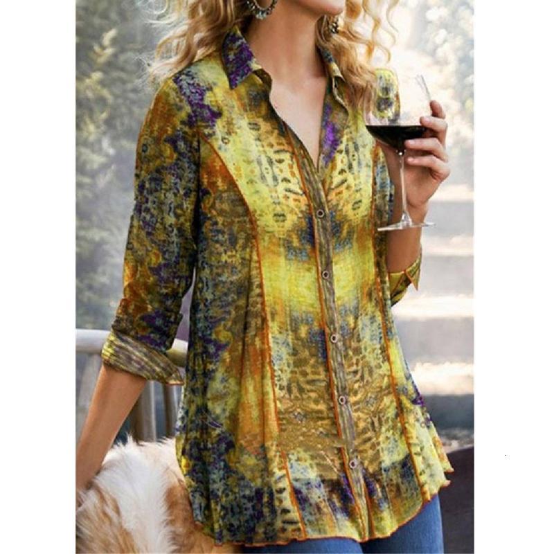 Baskı Gömlek Uzun Yaka T-shirt Bayanlar Büyük Yeni Moda S-4XL Gömlek 2NXQ Tops