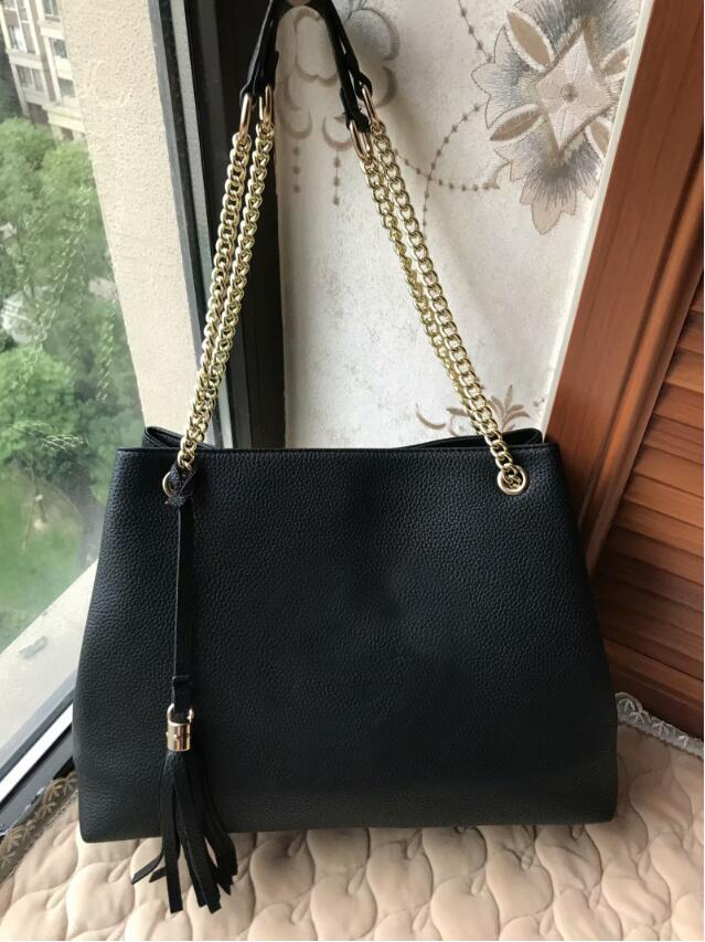2020 Famous Black Emboss leather Woman Shoulder bag Tassels Totes Women Handbags Lady Letter Messenger bags Female black Evening Bags