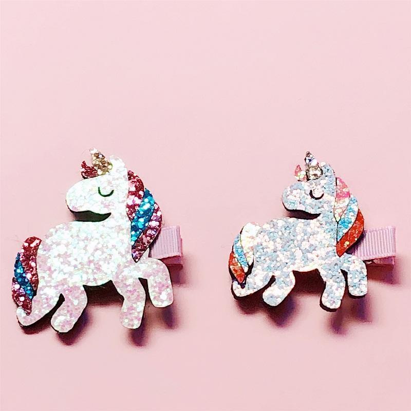 20 sztuk Moda Cute Glitter Unicorn Hairpins Solid Filtu Horse Hors Barrettes Princess Headwear Boutique Hair Akcesoria