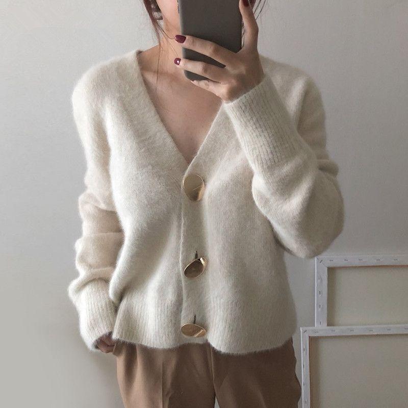 Herbst Winter Mode Frauen Nerz Kaschmir Cardigan Pullover Weibliche V-Ausschnitt Gestrickte langhaarige Nerz Kaschmir Pullover 210603