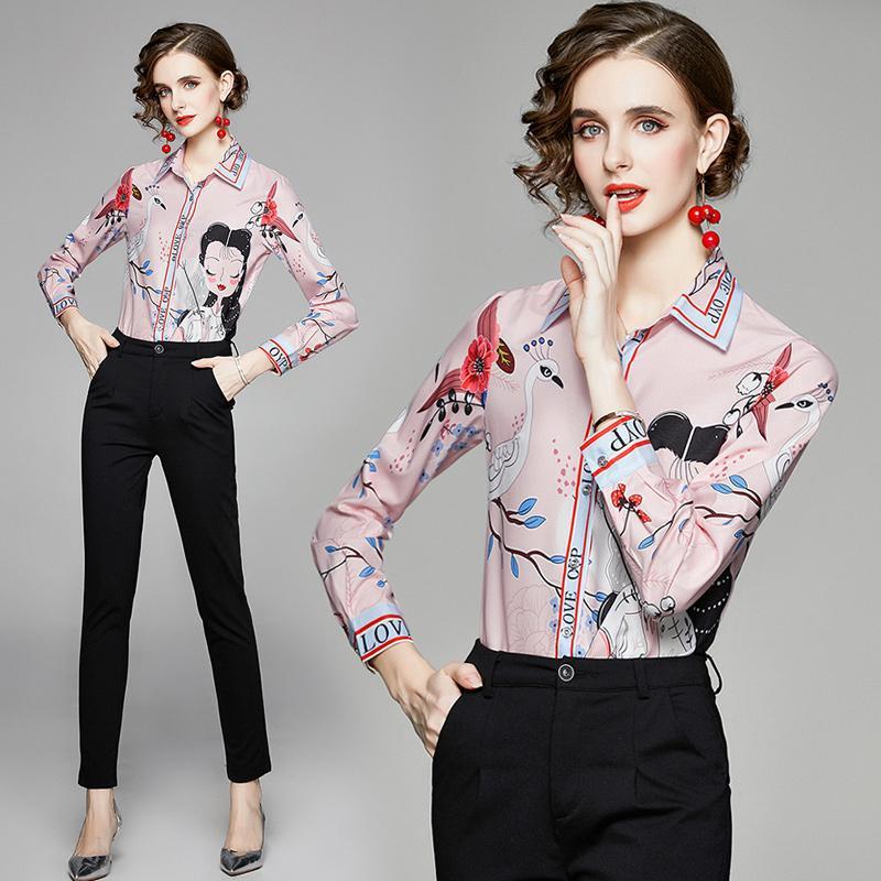 Новое качество Весенняя напечатанная кнопка рубашки плюс размер отворота женская взлетно-посадочная полоса рубашка с длинным рукавом осень зимние дамы офисные дизайнерские рубашки