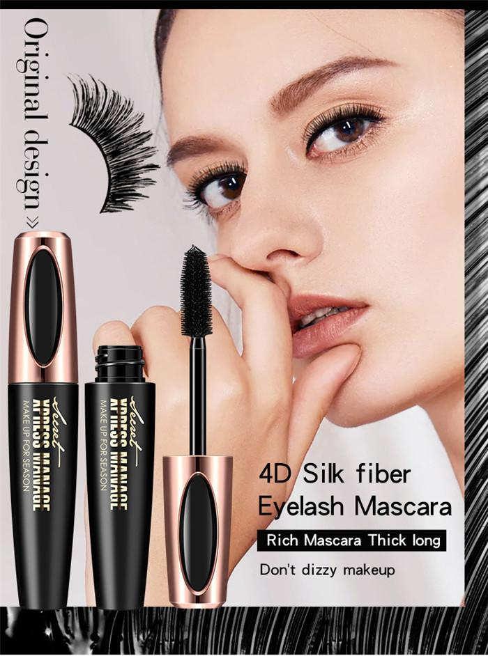Macfee lungo curling mascara trucco ciglia ciglia nera impermeabile fibra mascara occhio ciglia trucco 4D fibra di seta lash mascara