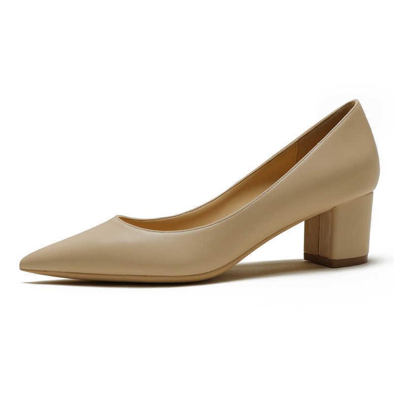 Große Größe Spitz Schuhe Square High Heels Echtes Leder Frauen Pumps Elegante Büro Lady Arbeit Weibliche Single A006 210608