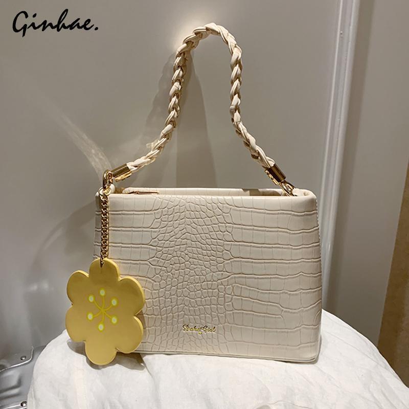 Elegante Crocodile Pattern Flap Saco de Alta Qualidade Bolsa de Couro Bonito Flower Rebite Ombro Messenger Bag para Mulheres Bolsa Mujer