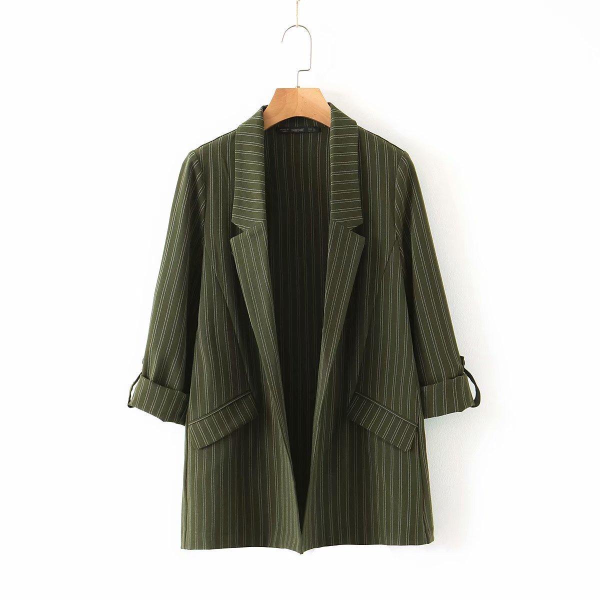 Kadın ilkbahar sonbahar moda dikey çizgili yaka kol kadın takım elbise ceket Top 0pye
