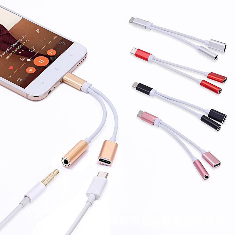 USB 케이블 어댑터 2 in 1 유형 C ~ 3.5mm 이어폰 Aux 오디오 잭 충전기 어댑터 분배기 Samsung Galaxy S20 용