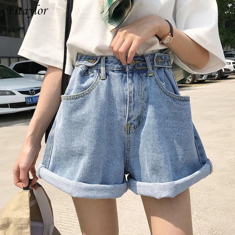 Fitaylor 2021 New Summer Women High Tail Blue Denim Vintage Female White Pipes Effects Colour Loss Jeans Shorts