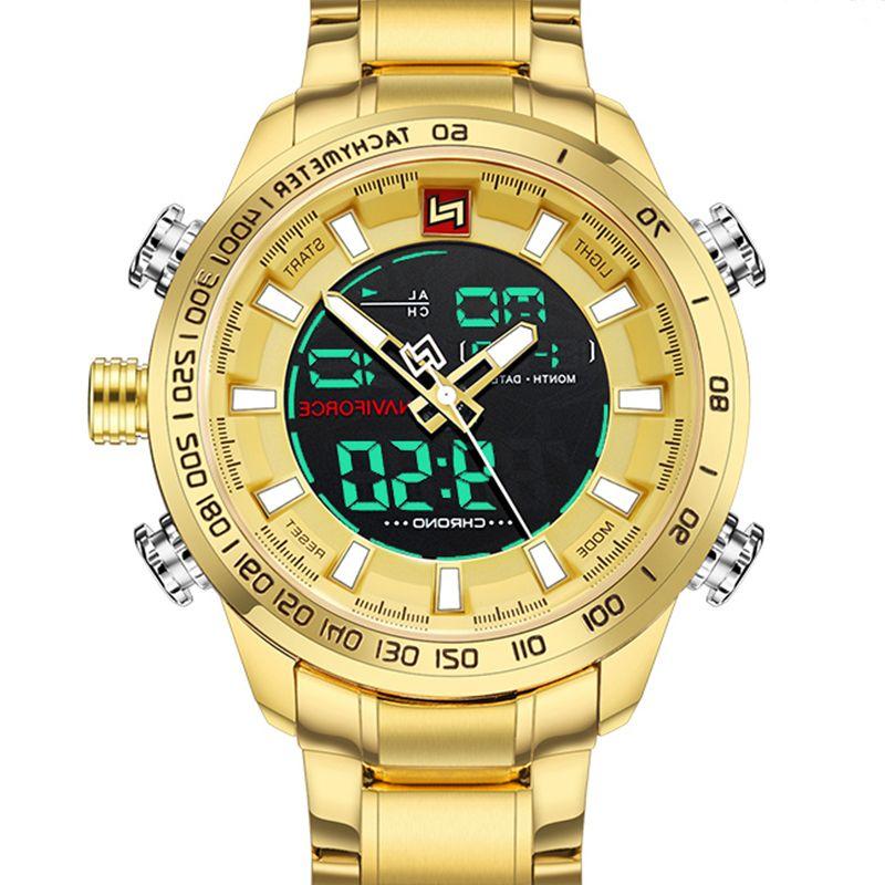Naviforce Hommes Montres Luxe Gold Steel Strap Sports imperméables Sports imperméables LED Digital Militaire Quartz Montre-Bracelet Horloge Relogio Masculino