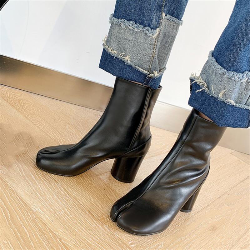 Women Tabi Ninja Boots INS Handmade Real Genuine Leather High Heels Split Toe Pig Feet Ankle Boots Plus Size 34-41