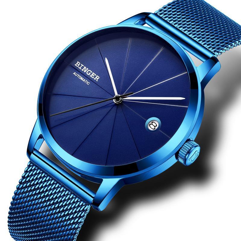 Armbanduhren Binger Einfache Mode Automatische Herrenuhr mechanisch wasserdicht