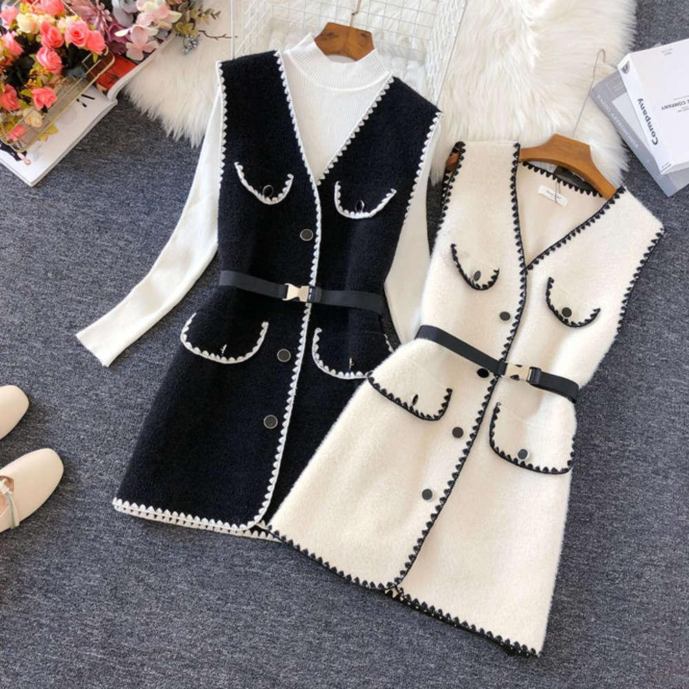 Women 2021 Autumn Winter Fashion Mid-long Woolen Female Slim V-Neck Waistcoats Ladies Single Breasted Pockets Vests D415