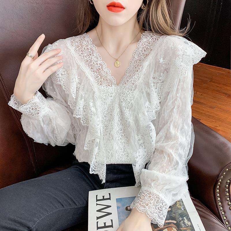 Blusas femininas camisas 2021 moda manga comprida laço retalhos camisa v-pescoço branco senhoras fêmea elegante