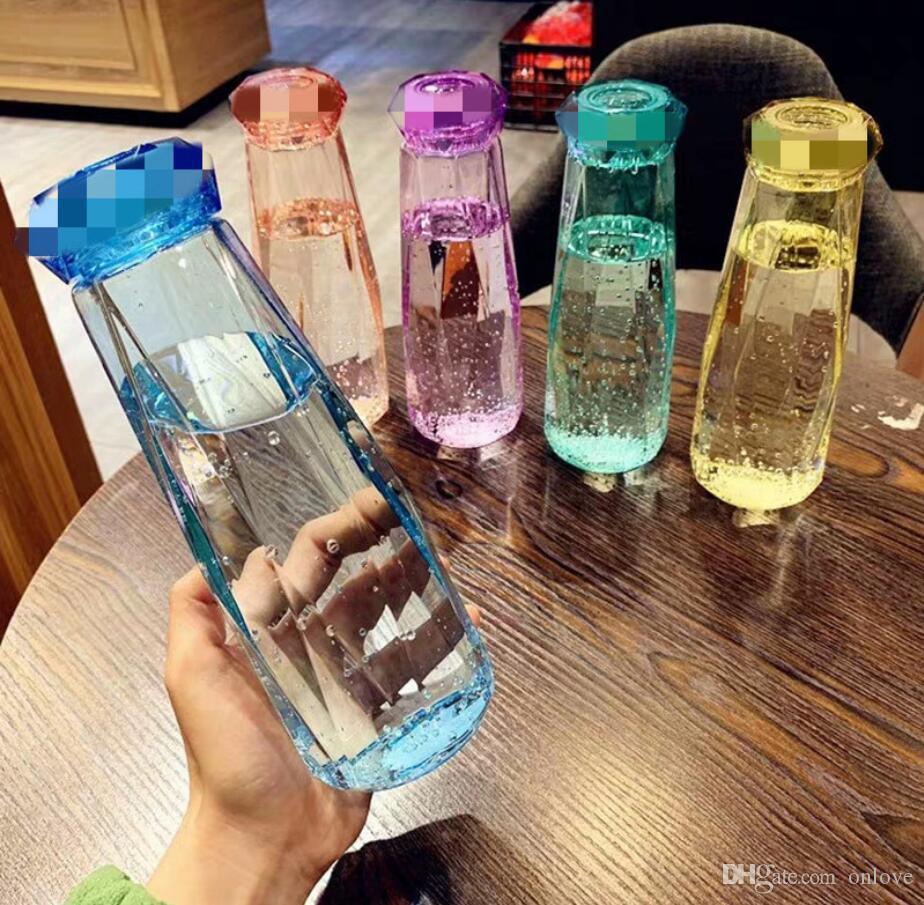 زجاجة ماء بلاستيكية أزياء سفر كأس الرياضة التخييم المشي لمسافات طويلة الشراب الماس الزجاج كؤوس هدية HH21-294