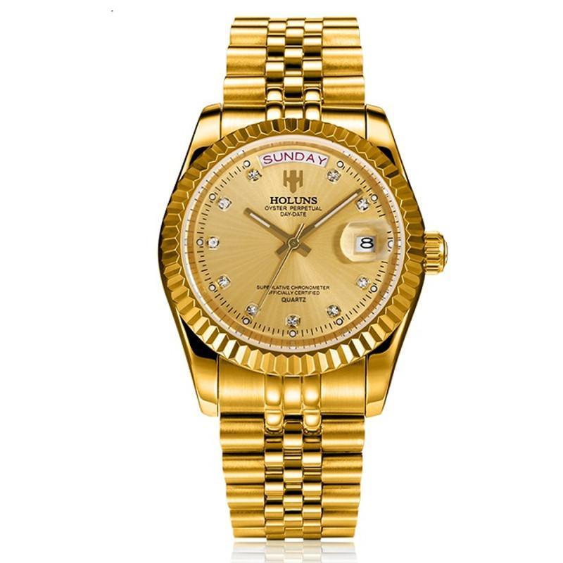HOLUNS MENOM Watches 2021 роскошный лучший бренд золотой алмазный роль кварцевый календарь из нержавеющей стали Relogio Masculino наручные часы часов