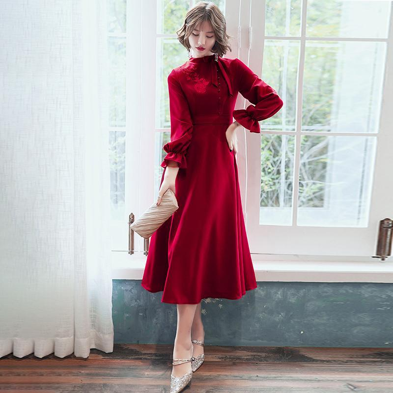 Party Dresses Burgundy Formal Dress High Collar Full Sleeves Tea-length A-line Plus Size Customized Appliques Lady Evening A065