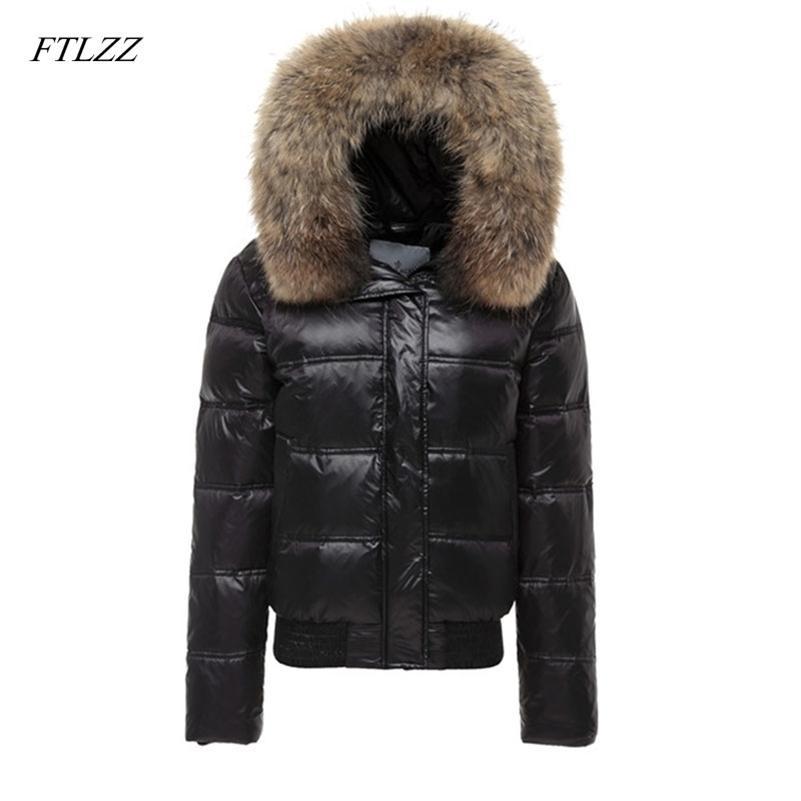 Ftlzz Real Raccoon Fur Winter Jacket Mulheres Manga Longa Slim Branco Duck Down Parkas Feminino Bolsos Com Capuz Casaco Outwear 210204