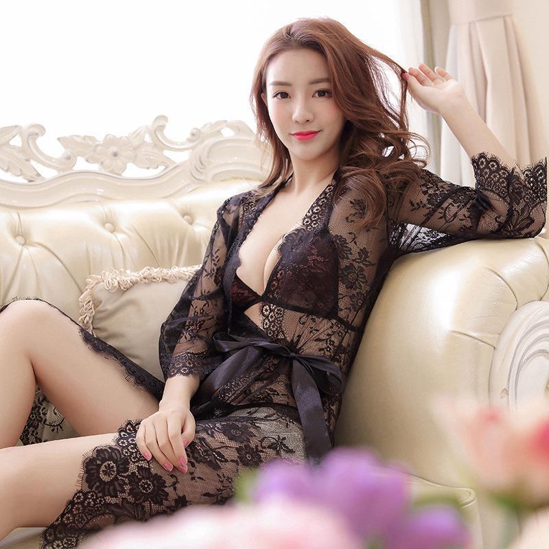 Новый стиль Pajamas женский большой размер с длинным рукавом сексуальное нижнее белье кружевной костюм соблазнительная ночная работа