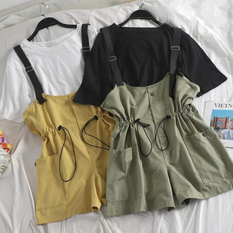 Damen Trainingsanzüge Mumuzi 2021 Sommer Frauen Preppy Style Outfits Weiß T Shirts Tops und breite Beinspiele 2 stücke Set Hohe Taille Kleidung