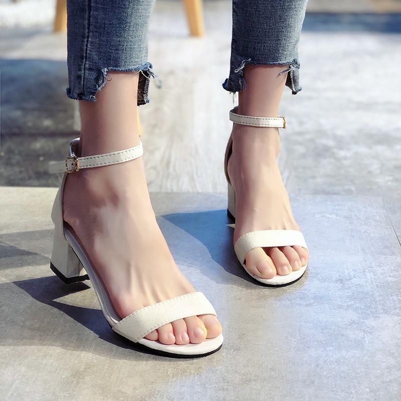 Белые лодыжки ремешок гладиатор сандалии для женщин лето комфорт толстые каблуки офисные туфли женщина повседневная сандалия