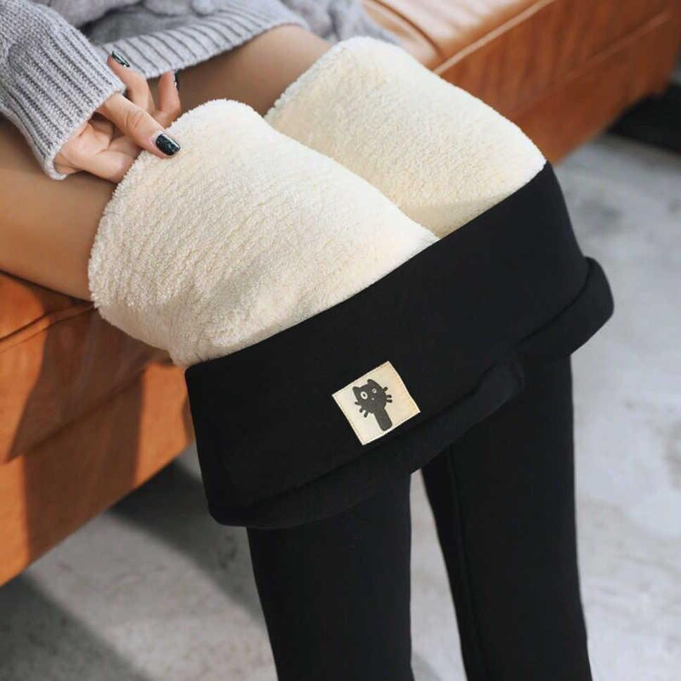 Otoño invierno espesar leggings alta cintura mujer caliente calidad gruesa terciopelo lana pantalones pantalones pantalones pantalones mujeres pantalones