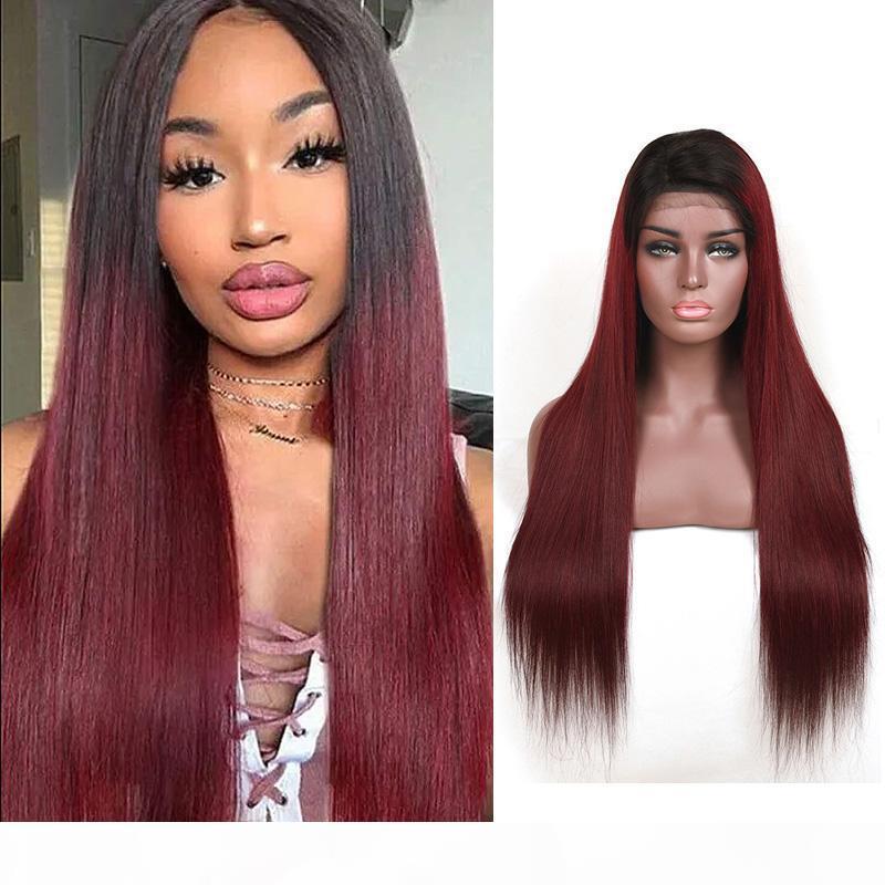 Cheveux humains brésiliens 1B 99J ombre couleur soyeuse 1B 99J dentelle perruque 13x4 dentelle avant perruque double couleur Dentelle réglable droite 10-30inch