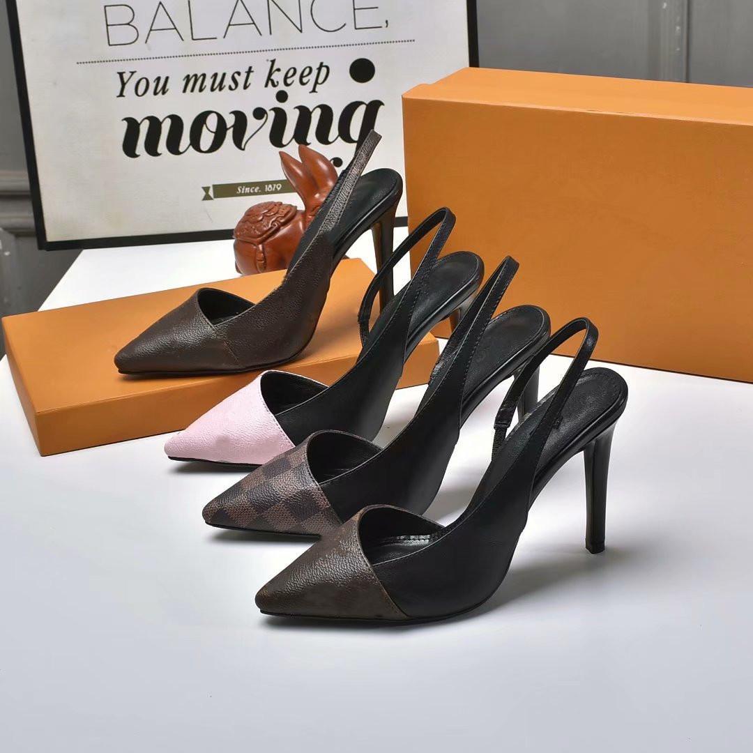Novos sapatos de vestido para o verão 2021, saltos de desenhista de luxo, single shoes elegantes com logotipo e caixa 8D