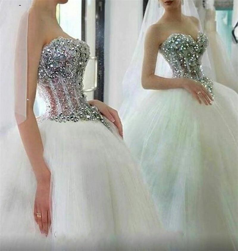 Abiti da sposa abito da sposa cristalli di lusso 2021 Sweetheart scollatura tulle lunghezza pavimento lunghezza su misura castello castello da sposa abito da sposa abito vestido de novia
