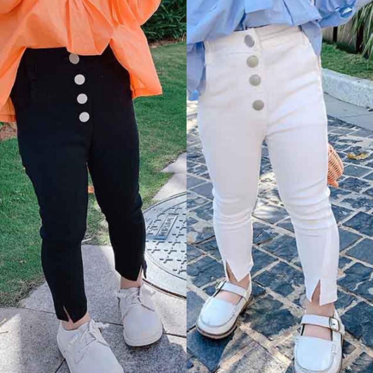 Wholesale INS New Korean Little Kids Girls Fashion Pants Kids Korean Design Front Buttons Trousers Children Girl Pants