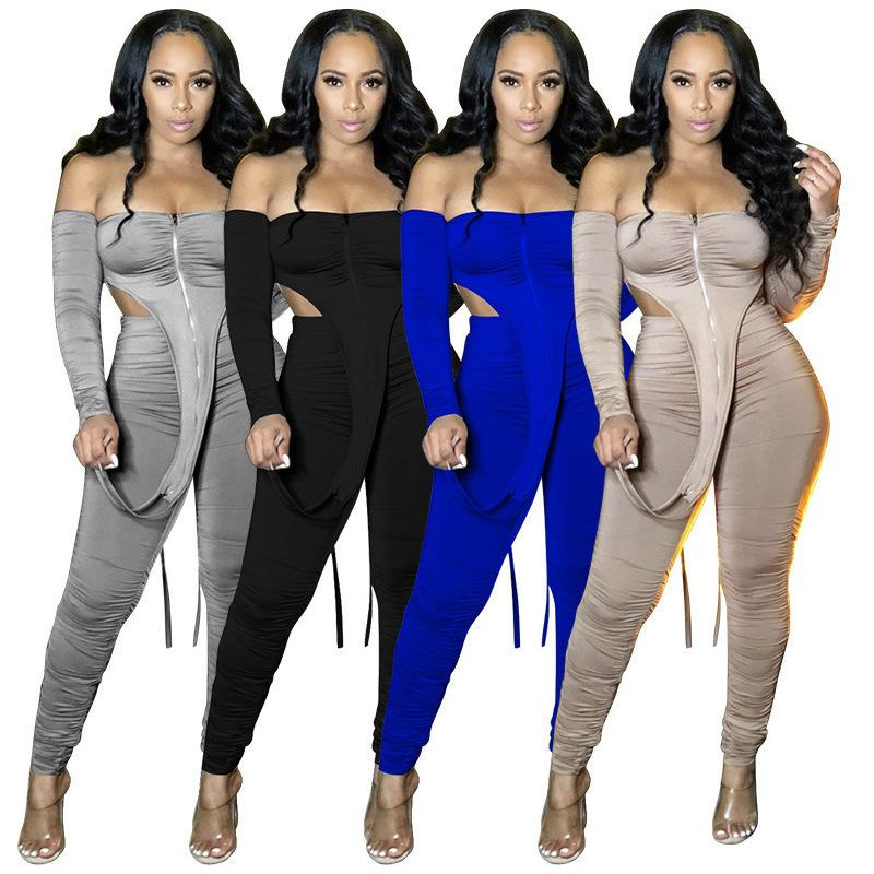 Women Tracksuit Off Shoulder Two Piece Outfits Strip Long Sleeve Micro Stacked Pants Sports Set Zipper Top Trousers Jogging Suit Dhl