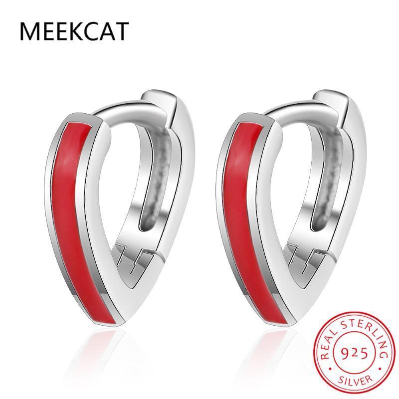MEEKCAT Fashion 925 Sterling Silver Heart Hoop Geometric Ear Cuff Clip On Earring For Women Girl Piercing Earing Jewelry DS2434