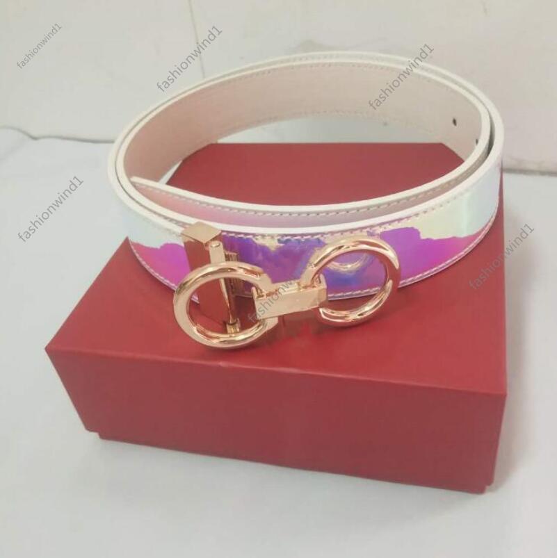 Fashion Cinturino in pelle personalizzata regolabile casual pinhole grande oro argento fibbia uomo d'affari donne design cinghie genuine