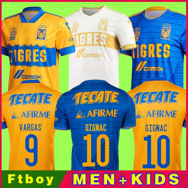 2020 México Uanl Tigres Jersey 7 Estrelas C.Salcedo Gignac Vargas Pizarro Football Jersey Kit Kit Camiseta de Tigres Uanl 20/21 Liga MX