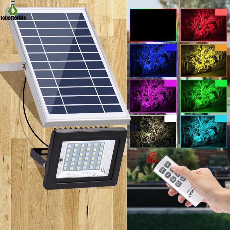 LED RGB 솔라 투광 조명 36LED 야외 방수 원격 제어 RGB 다채로운 스포트 라이트 잔디밭 방수 투광 조명 조명