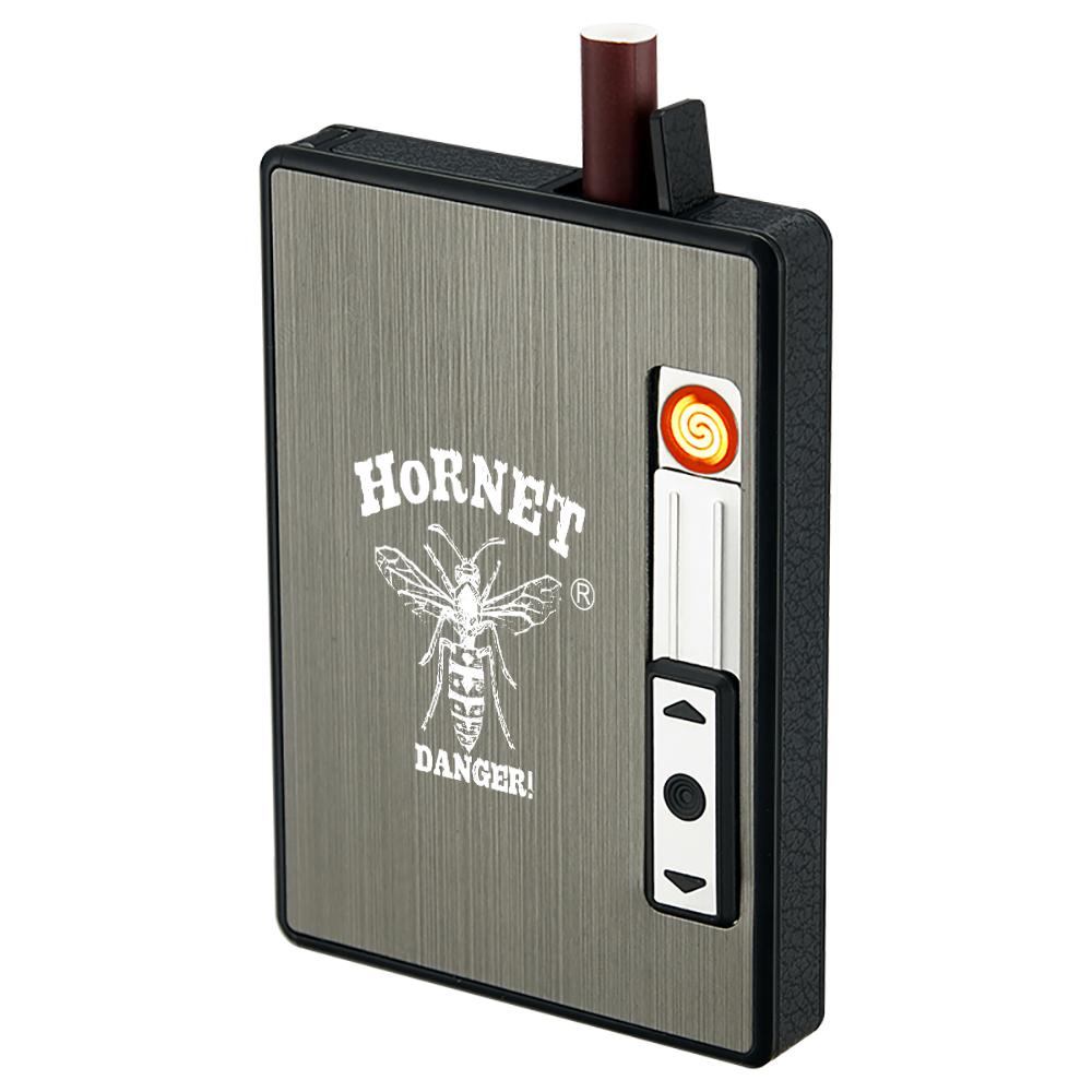 호넷 담배 케이스 박스 2 in 1 전자 충전식 Flameless windproof USB 라이터 개최 20pcs 일반 담배